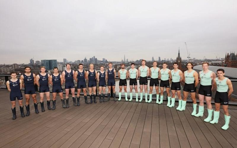 The Oxford and Cambridge men's crew pose ahead of the 163rd Boat Race  - 2017 Getty Images