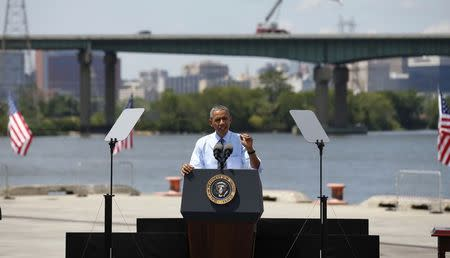 U.S. President Obama speaks about transportation infrastructure during a visit to the Port of Wilmington in Wilmington