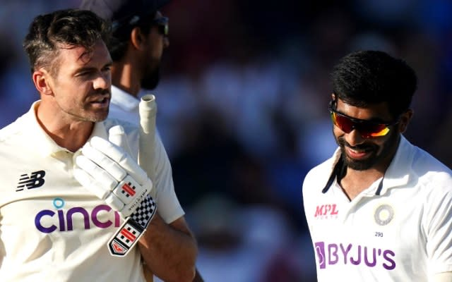 James Anderson and Jasprit Bumrah