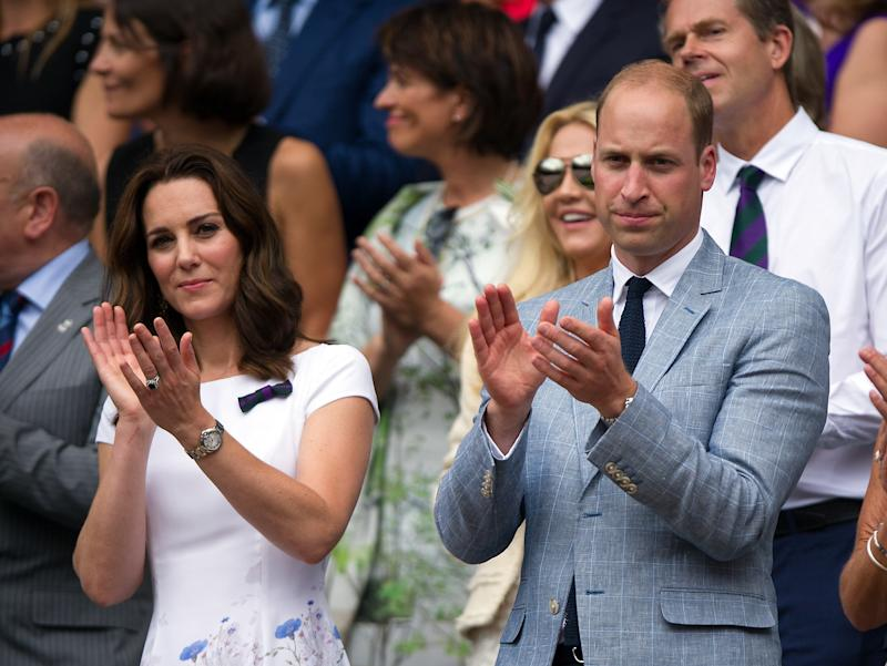Princess Cate and Prince William applaud Roger Federer on his victory at Wimbledon on July 16, 2017 in London, England. Photo courtesy of Getty Images.