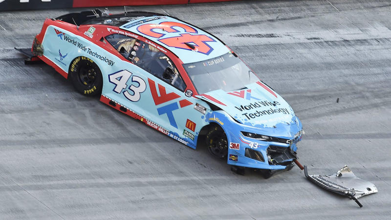 Bubba Wallace, pictured here after crashing in the NASCAR Cup Series All-Star Open.