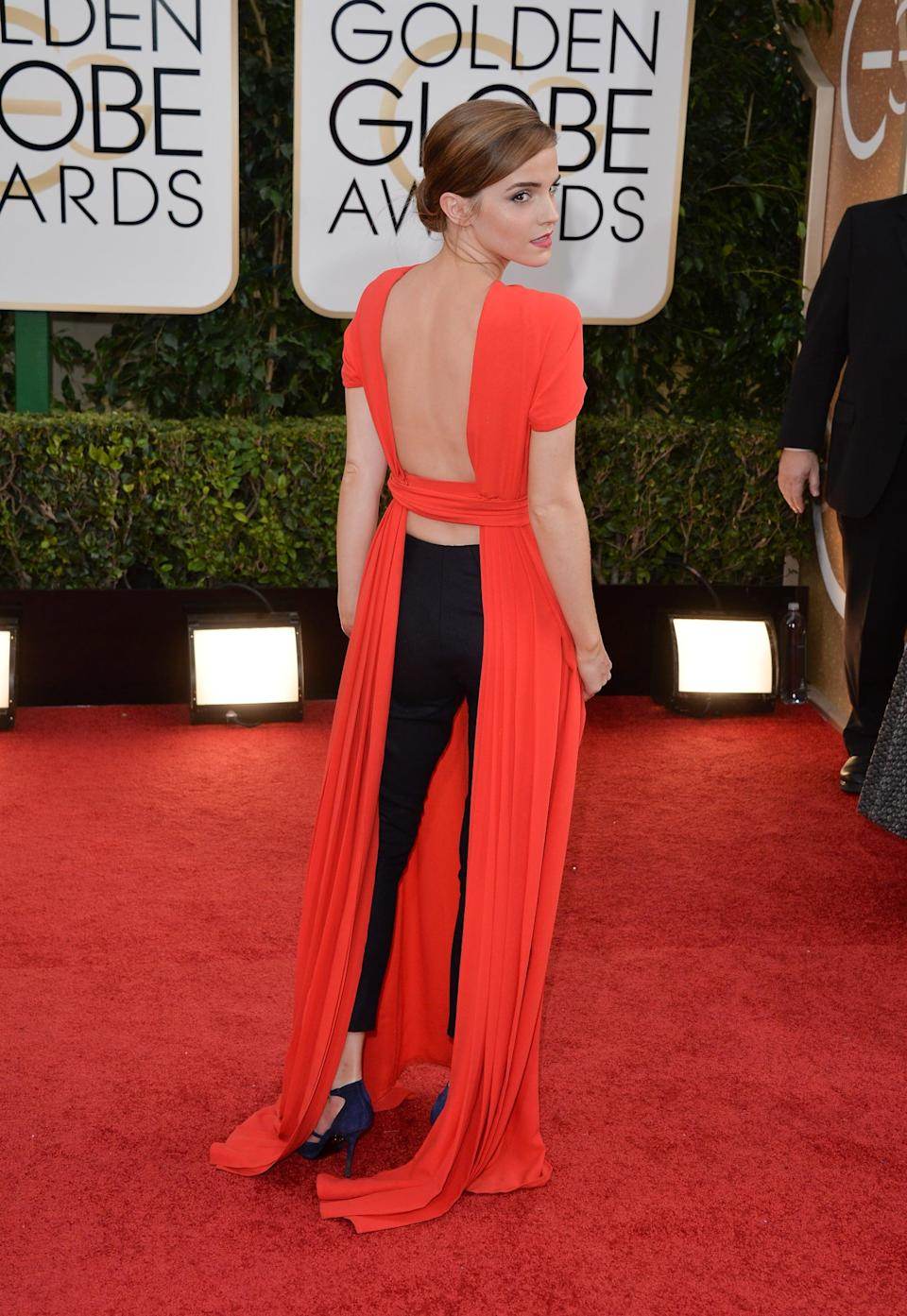 <p>Emma wore Christian Dior to the 2014 Golden Globe Awards.</p>
