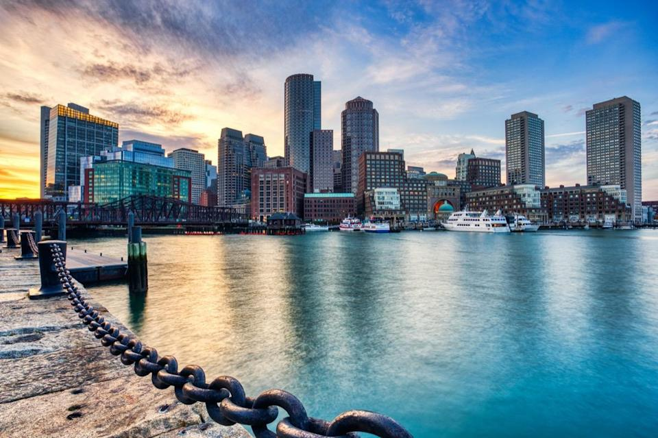 Boston Skyline with Financial District and Boston Harbor at Sunset, USA