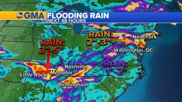PHOTO: Remnants of Laura will bring up to 5 inches of rain to the Mid-South region and up to 3 inches in the Northeast this weekend. (ABC News)