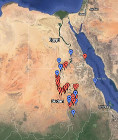 Map of Sudan with dots