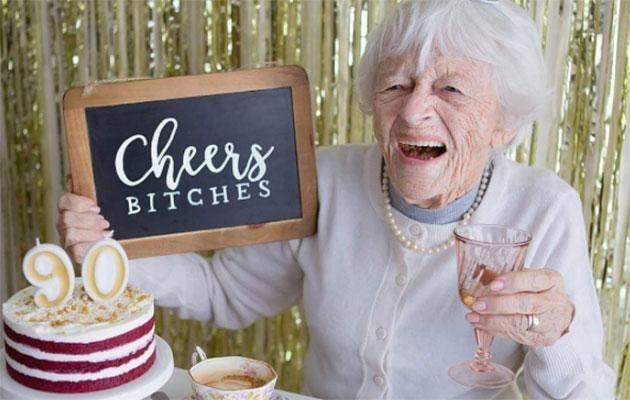 This Aussie grandma has a sassy message to share on her 90th birthday! Source: Pardon My French Photography/Instagram