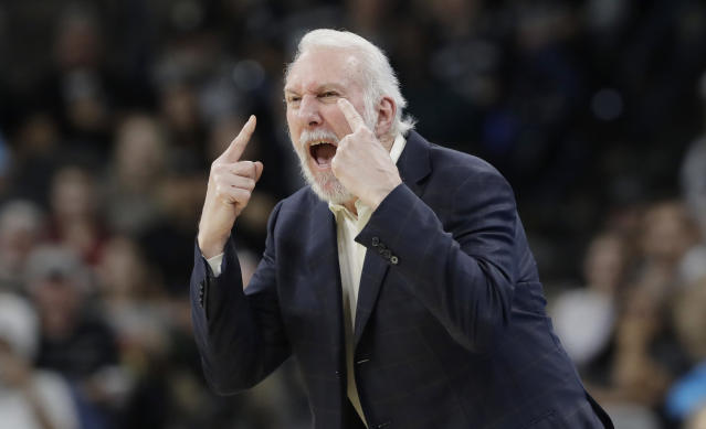 Gregg Popovich insisted that the referees open their eyes while calling the basketball game. Apparently, they didn't like that. (AP)