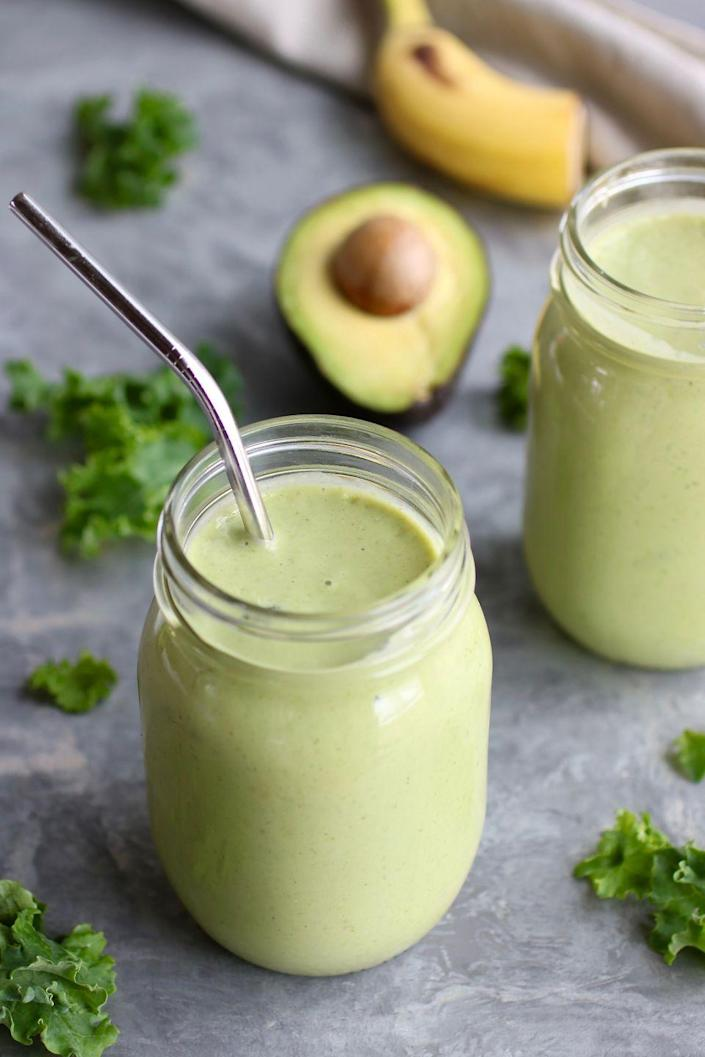 "<p>""This smoothie has everything you need to feel satisfied for hours,"" Stacie Hassing, R.D.N., and Jessica Beacon, R.D.N., bloggers at <a href=""https://therealfoodrds.com/"" rel=""nofollow noopener"" target=""_blank"" data-ylk=""slk:The Real Food Dietitians"" class=""link rapid-noclick-resp"">The Real Food Dietitians</a>, tell Woman's Day. ""It contains a good dose of healthy fats, quality protein, and fiber to keep your cravings at bay and energy high — both of which are key components of achieving desired <a href=""https://www.womansday.com/health-fitness/g5/10-incredible-weight-loss-transformations-99576/"" rel=""nofollow noopener"" target=""_blank"" data-ylk=""slk:weight loss"" class=""link rapid-noclick-resp"">weight loss</a>.""<br></p><p><em>Get the recipe at <a href=""https://therealfoodrds.com/go-to-green-smoothie/"" rel=""nofollow noopener"" target=""_blank"" data-ylk=""slk:The Real Food Dietitians"" class=""link rapid-noclick-resp"">The Real Food Dietitians</a>.</em></p>"