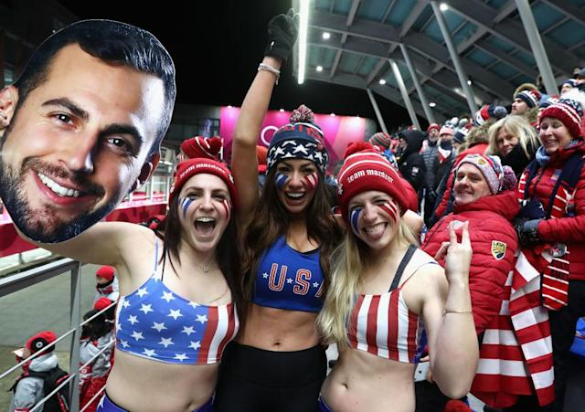 Fans of Chris Mazdzer go all out for their guy. (Getty)