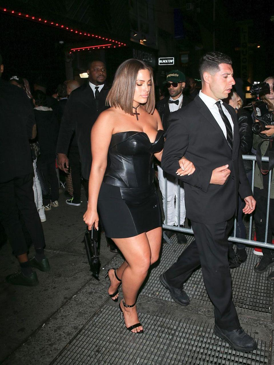 <p>At the 2018 Met Gala Afterparty: After completing nailing her Met Gala appearance in a floor-length gold gown, Ashley slipped into a black mini leather dress for the afterparty.</p>