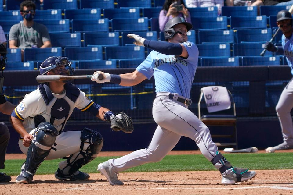 The Mariners' Jarred Kelenic hit .300 with two home runs and a .440 on-base percentage in 25 plate appearances this spring.