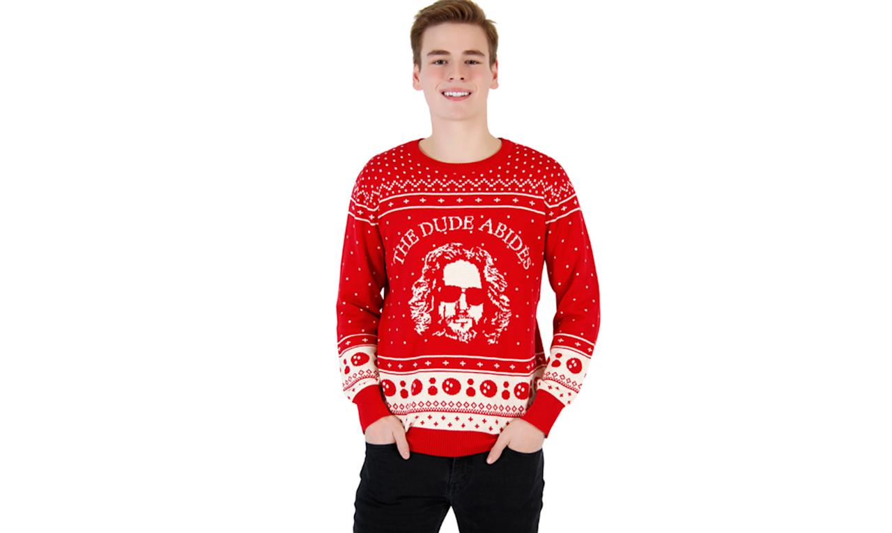 "<p>The Dude abides. And find another sweater that has cute little bowling balls on it. <a rel=""nofollow"" href=""http://www.uglychristmassweater.com/product/the-big-lebowski-the-dude-abides-ugly-christmas-sweater/""><strong>Buy here</strong></a> </p>"