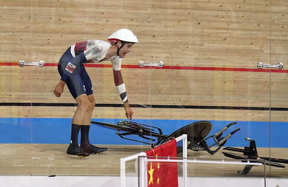 Charlie Tanfield crashed in the velodrome (Danny Lawson/PA) (PA Wire)