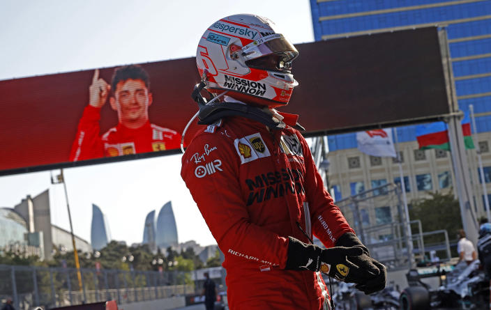 Ferrari driver Charles Leclerc of Monaco after taking pole position during the qualifying session at the Baku Formula One city circuit in Baku, Azerbaijan, Saturday, June 5, 2021. The Azerbaijan Formula One Grand Prix will take place on Sunday. (Maxim Shemetov, Pool via AP)