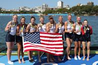 <p>Gold medalists United States pose for photographs after the medal ceremony for the Women's Eight on Day 8 of the Rio 2016 Olympic Games at the Lagoa Stadium on August 13, 2016 in Rio de Janeiro, Brazil. (Photo by Christian Petersen/Getty Images) </p>
