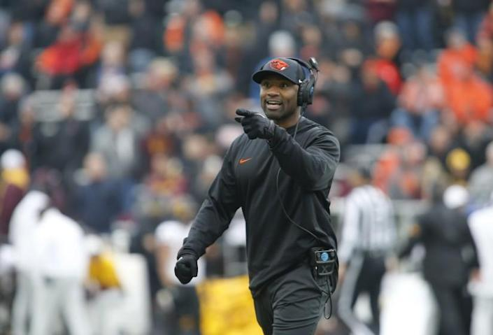 Oregon State head coach Cory Hall during an NCAA college football game, in Corvallis, Ore., Saturday, Nov. 18, 2017. (AP Photo/Timothy J. Gonzalez)