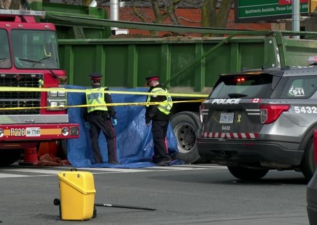 Toronto police shut down roads in the area as officers investigated the fatal collision.