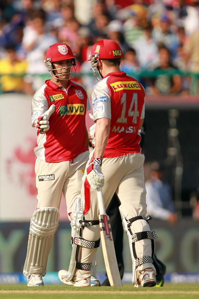 Shaun Marsh and Azhar Mahmood congratulated each other on scoring half centuries within minutes of each other during match 69 of the Pepsi Indian Premier League between The Kings XI Punjab and the Mumbai Indians held at the HPCA Stadium in Dharamsala, Himachal Pradesh, India on the on the 18th May 2013. (BCCI)