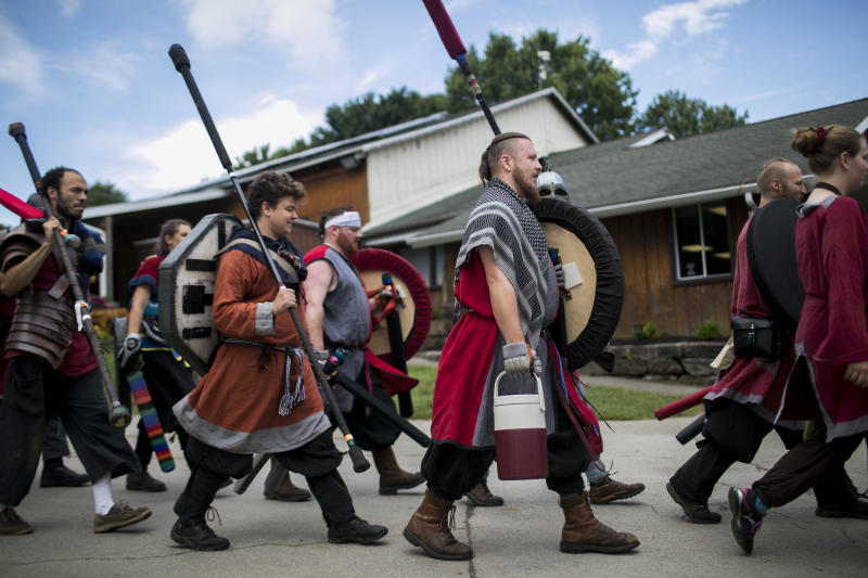Warriors march to the battlefield. (Maddie McGarvey for HuffPost)