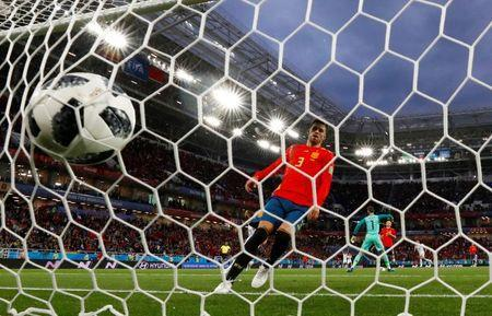 Soccer Football - World Cup - Group B - Spain vs Morocco - Kaliningrad Stadium, Kaliningrad, Russia - June 25, 2018 Morocco's Khalid Boutaib scores their first goal REUTERS/Gonzalo Fuentes