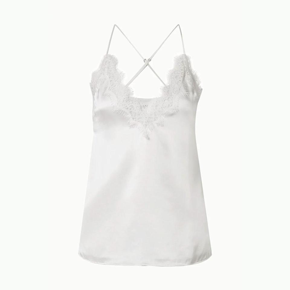 """$160, Net-A-Porter. <a href=""""https://www.net-a-porter.com/en-us/shop/product/cami-nyc/everly-lace-trimmed-silk-charmeuse-camisole/1043895"""" rel=""""nofollow noopener"""" target=""""_blank"""" data-ylk=""""slk:Get it now!"""" class=""""link rapid-noclick-resp"""">Get it now!</a>"""