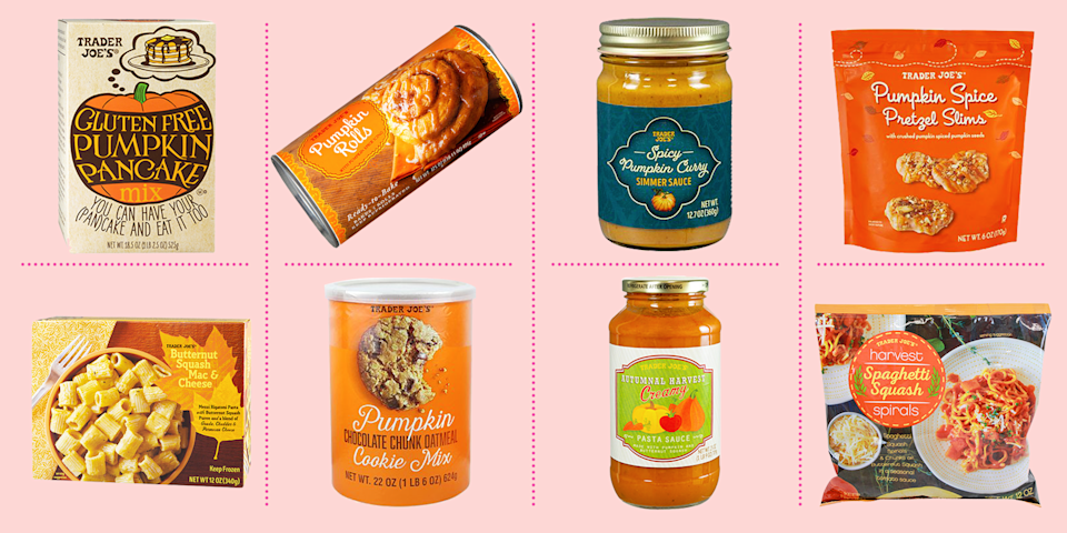 "<p>As the leaves change color and the seasons turn, the <a href=""https://www.traderjoes.com/digin/post/pumpkin-products-machine"" rel=""nofollow noopener"" target=""_blank"" data-ylk=""slk:Trader Joe's Pumpkin Products Machine"" class=""link rapid-noclick-resp"">Trader Joe's Pumpkin Products Machine</a> starts whipping up some oh-so-delicious magic. From pumpkin-flavored desserts to spiced soups, fall vibes are in full effect at Trader Joe's this time of year. We've rounded up the best seasonal pumpkin foods and products at Trader Joe's, including healthy options (noted as RD Picks) and more decadent items. All aboard the <a href=""https://www.goodhousekeeping.com/food-recipes/a33407012/pumpkin-pie-spice-recipe/"" rel=""nofollow noopener"" target=""_blank"" data-ylk=""slk:pumpkin spice"" class=""link rapid-noclick-resp"">pumpkin spice</a> train!</p>"