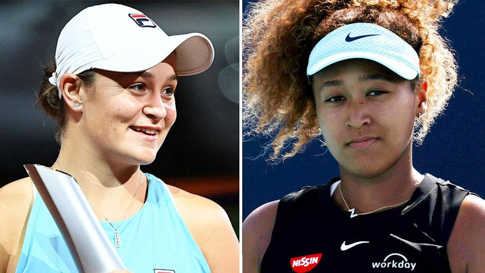 Naomi Osaka (pictured right) during the Miami Open and Ash Barty (pictured left) celebrating with her trophy.
