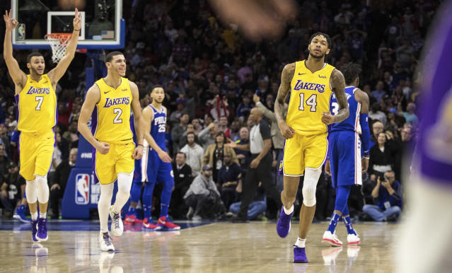 "You can play it cool all you like, <a class=""link rapid-noclick-resp"" href=""/nba/players/5601/"" data-ylk=""slk:Brandon Ingram"">Brandon Ingram</a>, but Larry Nance Jr. and <a class=""link rapid-noclick-resp"" href=""/ncaab/players/136151/"" data-ylk=""slk:Lonzo Ball"">Lonzo Ball</a> are very excited you made that game-winning 3-pointer. (AP)"