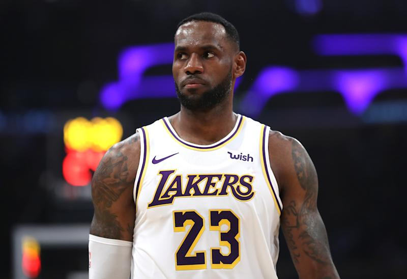 LeBron James made a gesture for the first responders protecting lives and property near his Los Angeles home. (Sean M. Haffey/Getty Images)