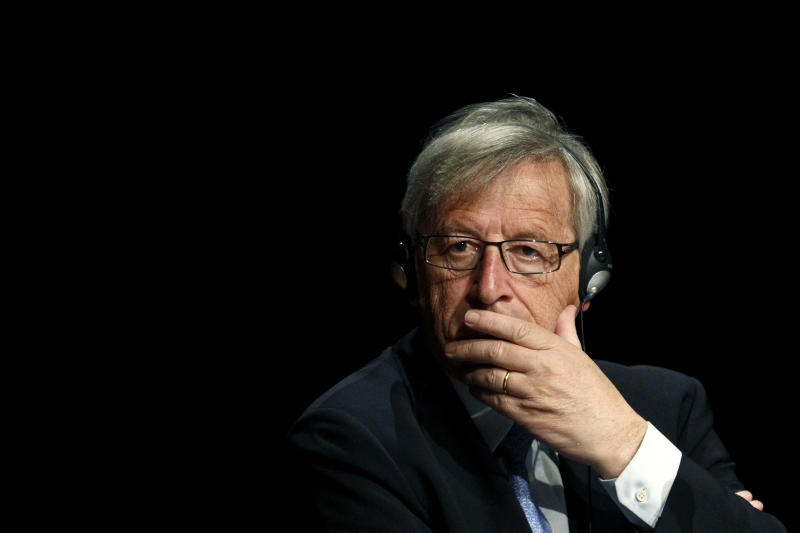 Luxembourg Prime Minister and former Eurogroup chief Jean-Claude Juncker listens to another speaker just before delivering a speech on the future of the Eurozone, in Athens on Monday, June 10, 2013. Juncker arrived in Greece Monday for a three-day official visit. (AP Photo).