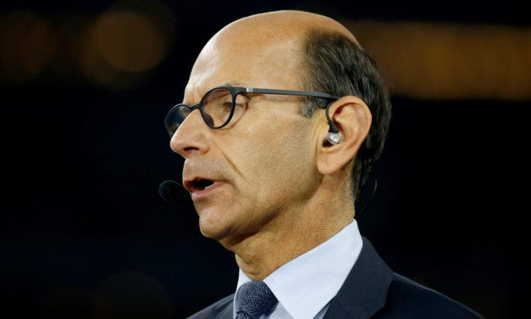 An extreme closeup of ESPN college football analyst Paul Finebaum from the Cotton Bowl in Texas in 2019.