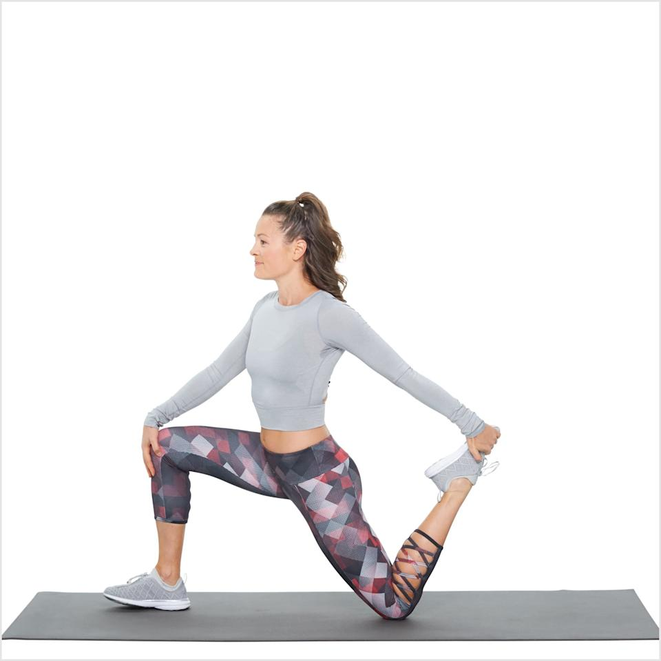<p>Osaka said she does a light warmup before her workout, and one of the moves is a kneeling quad stretch. She does this without holding her back foot.</p> <ul> <li>Begin in a runner's lunge with your right foot forward. Slowly lower your left knee to the floor.</li> <li>Take a few moments to find balance, and once you're stabilized, grab your left foot with your left hand.</li> <li>Hold for 30 seconds, then switch sides.</li> <li>Osaka does this three times on each side.</li> </ul>