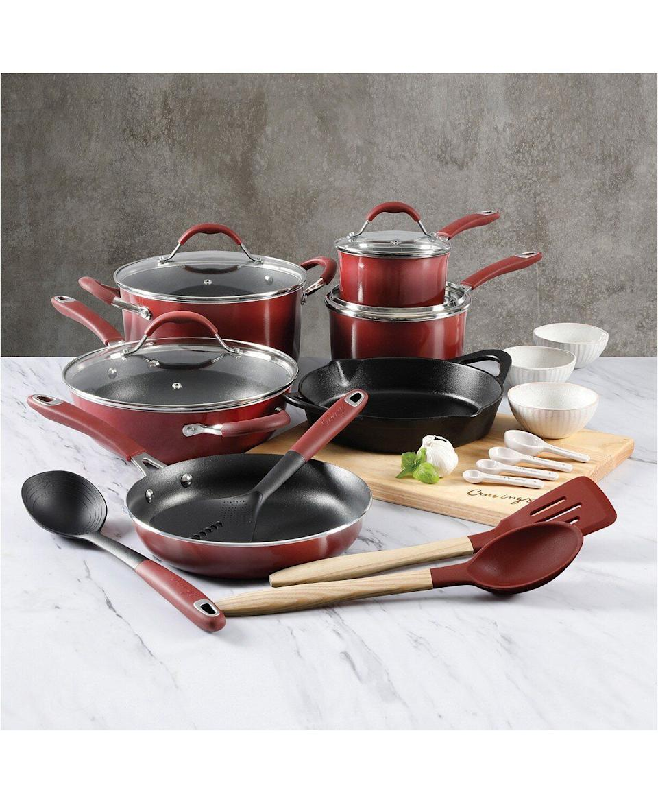 "If you or someone you know recently moved into their first place, this cookware set has just about anything you'll need in the kitchen. It set comes with a stock pot and sauce pans, along with essentials like wood cutting board and measuring spoons. <a href=""https://fave.co/35G9ucU"" target=""_blank"" rel=""noopener noreferrer"">Originally $500, get the set now for $100 at Macy's</a>."