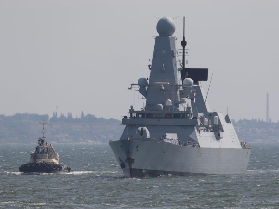 """Russia has claimed Royal Navy warship HMS Defender was in """"clear violation"""" of a 1986 agreement by straying into territorial waters (Sergey Smolentsev/Reuters)"""