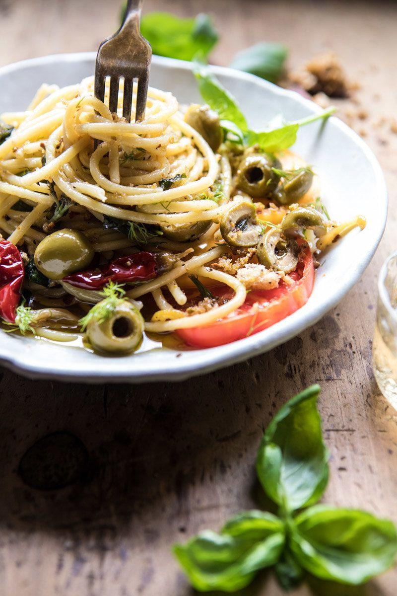 """<strong>Get the <a href=""""https://www.halfbakedharvest.com/garden-fresh-herb-olive-and-parmesan-pasta-with-pistachio-breadcrumbs/"""" target=""""_blank"""">Garden Fresh Herb, Olive and Parmesan Pasta with Pistachio Breadcrumbs recipe</a> from&nbsp;Half Baked Harvest</strong>"""