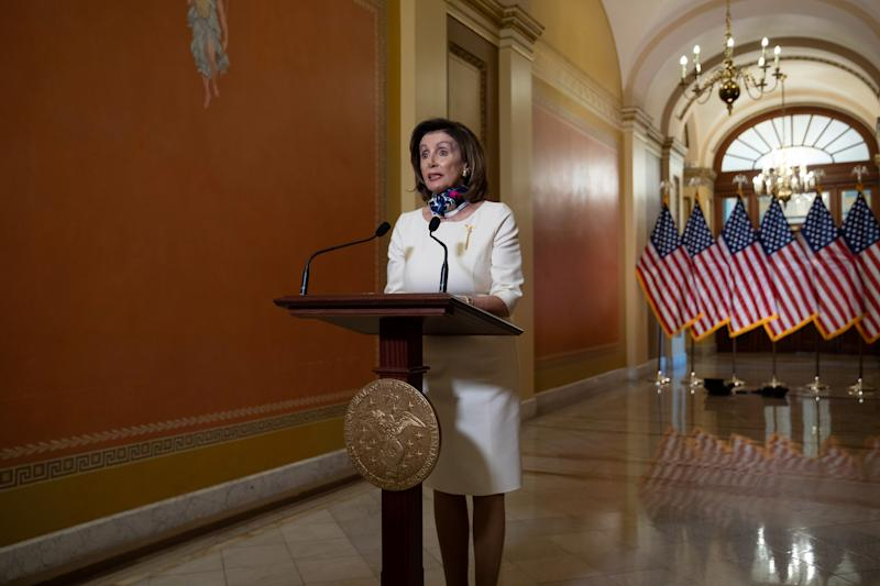 U.S. House Speaker Nancy Pelosi (D-CA) speaks about the 'Heroes Act', a proposal for the next phase of the coronavirus disease (COVID-19) relief legislation, on Capitol Hill in Washington, U.S., May 12, 2020. Graeme Jennings/Pool via REUTERS
