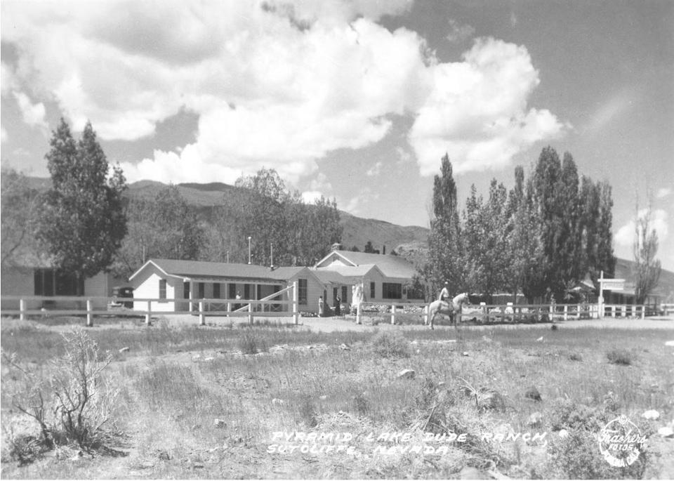 Pyramid Lake Dude Ranch, Sutcliffe, 1936. AJ Olds owned the Pyramid Lake Dude Ranch from 1926-1931. It does not appear to be the same ranch the Olds lived on during the rabies epidemic, but was in the same area.