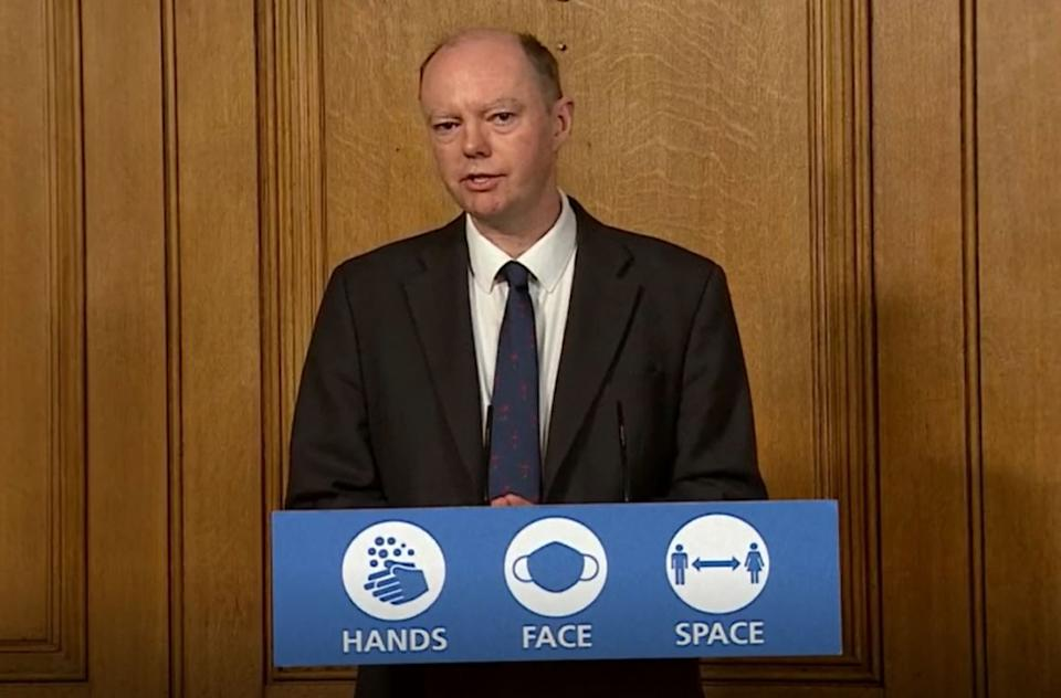 Chief Medical Officer Professor Chris Whitty during a media briefing on coronavirus (COVID-19) in Downing Street, London.