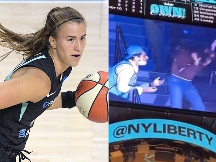 A fan wearing Sabrina Ionescu's New York Liberty jersey is seemingly rejected while proposing on the Jumbotron at the Barclays Center.