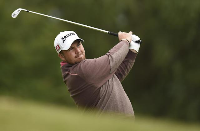 Ireland's Shane Lowry plays a shot during day three of the BMW PGA Championships at the Wentworth Club, Virginia Water England Saturday May 24, 2014.(AP Photo/Adam Davy/PA)
