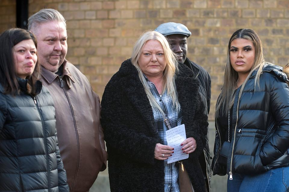 (Left to right) Ben Gillham-Rice's mother Susanne Gillham, father Jason Rice with Dom Ansah's mother Tracey, father Dominic and sister Holly, outside Luton Crown Court. (PA/Thames Valley Police)