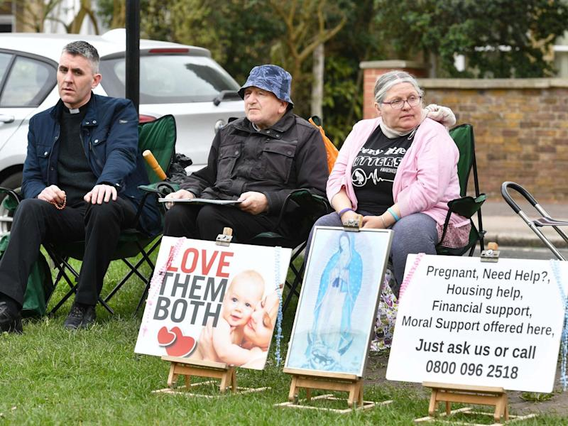 Anti-abortion demonstrators outside the Marie Stopes clinic on Mattock Lane, Ealing: PA