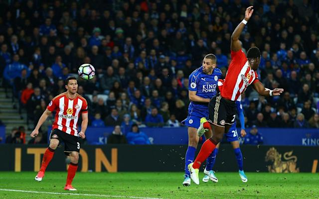 <span>Islam Slimani heads Leicester in front</span> <span>Credit: Rex Features </span>