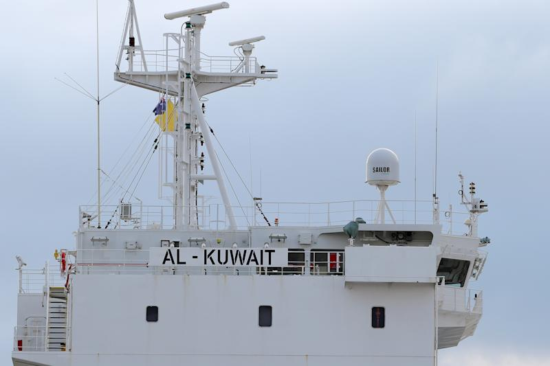A general view of the Al Kuwait, a live export ship docked in Fremantle harbour where six crew members have tested positive for COVID-19