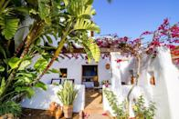 """<p>Moments from the bohemian village of San Carlos and Las Dalias hippie market, this whitewashed, bougainvillea-drenched finca set among lemon and olive groves offers a heavenly scented year-round escape. There are 17 rooms at <a href=""""https://www.booking.com/hotel/es/rural.en-gb.html?aid=2070929&label=ibiza-hotels"""" rel=""""nofollow noopener"""" target=""""_blank"""" data-ylk=""""slk:Can Curreu"""" class=""""link rapid-noclick-resp"""">Can Curreu</a>, all of which embrace the rustic Balearic vibe – exposed beams, terracotta floors and bare-brick fireplaces – which Ibiza does so well. </p><p>Relax in the small but chic spa, which has an heated indoor pool (for cooler days) and a clutch of thermal baths, sensation showers and steam rooms. The outdoor pool is just as inviting. Surrounded by lush gardens with cacti and palm trees, it overlooks the valley and bridlepaths, where guests can ride horses from the Can Curreu stables.</p><p><a class=""""link rapid-noclick-resp"""" href=""""https://www.booking.com/hotel/es/rural.en-gb.html?aid=2070929&label=ibiza-hotels"""" rel=""""nofollow noopener"""" target=""""_blank"""" data-ylk=""""slk:CHECK AVAILABILITY"""">CHECK AVAILABILITY</a></p>"""