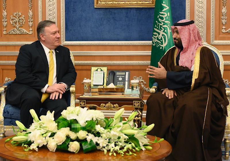 US Secretary of State Mike Pompeo meets with Crown Prince Mohammed bin Salman during a visit to close ally Saudi Arabia in January 2019 (AFP Photo/ANDREW CABALLERO-REYNOLDS)