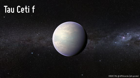 Artist's concept of the potentially habitable planet candidate Tau Ceti f, which was detected in December 2012. The possible planet, which is found just 11.9 light-years from Earth, is at least 6.6 times as massive as Earth.