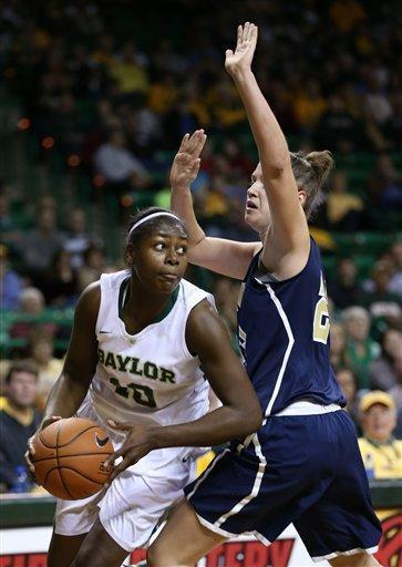 Baylor forward/center Destiny Williams (10) looks for an opening against Oral Roberts forward Bernadett Balla (23) in the first half of an NCAA college basketball game Wednesday, Dec. 12, 2012, in Waco, Texas. (AP Photo/Rod Aydelotte, Waco Tribune Herald)