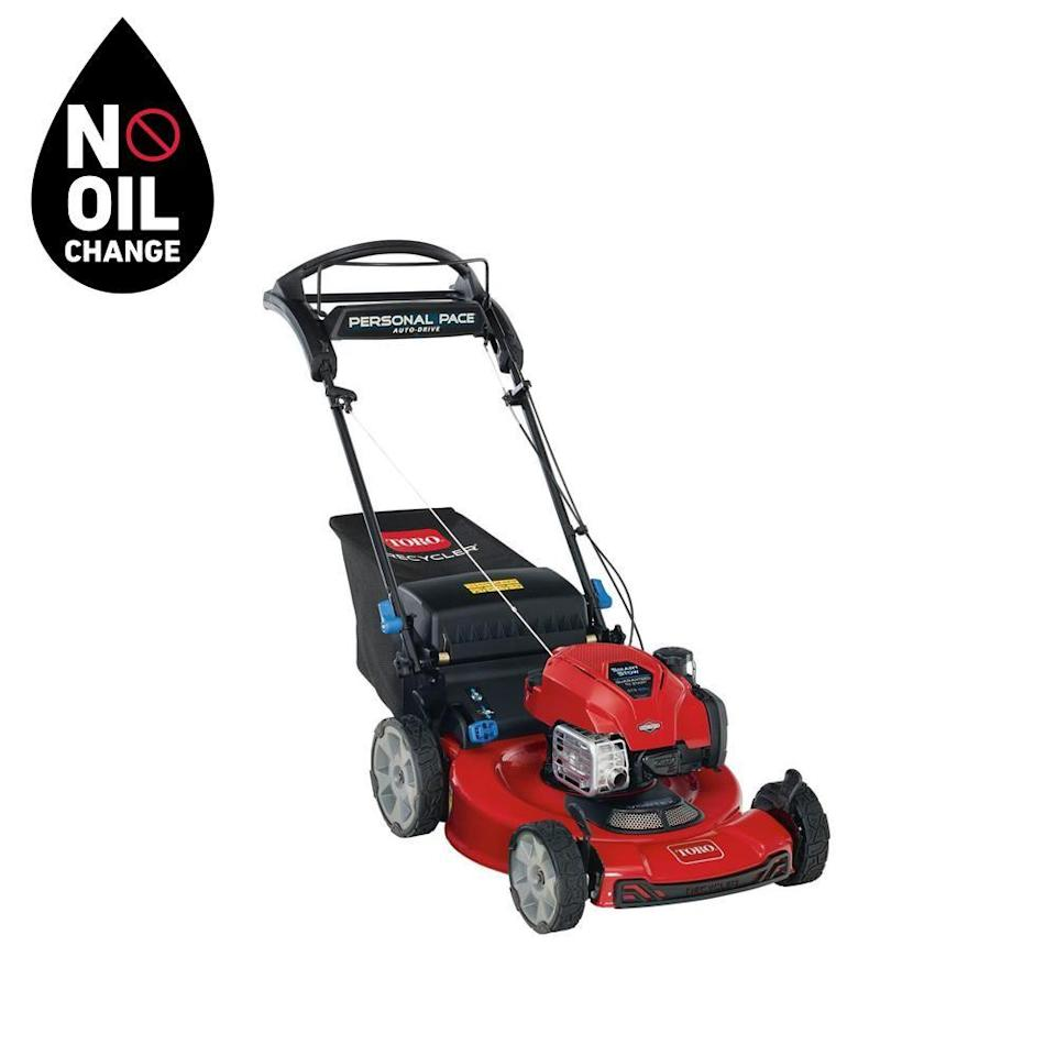"""<p><strong>Toro 22 in. Self-Propelled Mower</strong></p><p>homedepot.com</p><p><strong>$379.00</strong></p><p><a href=""""https://go.redirectingat.com?id=74968X1596630&url=https%3A%2F%2Fwww.homedepot.com%2Fp%2FToro-Recycler-22-in-Briggs-Stratton-SmartStow-Personal-Pace-High-Wheel-Drive-Gas-Walk-Behind-Self-Propelled-Lawn-Mower-21465%2F314426545&sref=https%3A%2F%2Fwww.countryliving.com%2Fgardening%2Fgarden-ideas%2Fg36558182%2Fbest-lawn-mowers%2F"""" rel=""""nofollow noopener"""" target=""""_blank"""" data-ylk=""""slk:Shop Now"""" class=""""link rapid-noclick-resp"""">Shop Now</a></p><p>If you're looking for a traditional lawnmower, this one has plenty of bells and whistles for a very reasonable price. Reviewers love how easy it is to start, and that the engine's oil never needs to be changed—only topped off. The auto-drive function, which adjusts to whatever pace you walk without pulling, is also popular. And for those without huge garages, the space-saving design folds up neatly and stores vertically for a minimal footprint. </p>"""