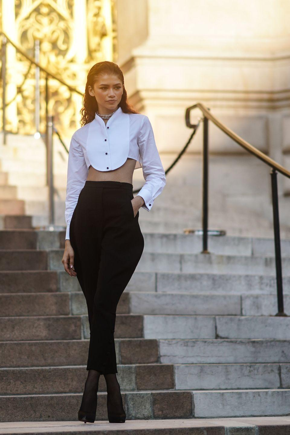 <p>During Paris Haute Couture fashion week, Zendaya donned a custom Armani top and bottom and Messika jewelry to top of her look.<br></p>